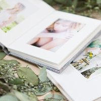 Eucalyptus surrounds some professional photographic linen matted folio albums