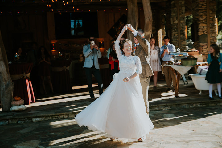 bhldn wedding dress, on the windfall, first dance, lansing wedding photographer, lansing wedding photographers, brown suit, outdoor fall reception, north carolina wedding photographer, rustic wedding, mountain wedding photographer, on the windfall north carolina wedding photographer