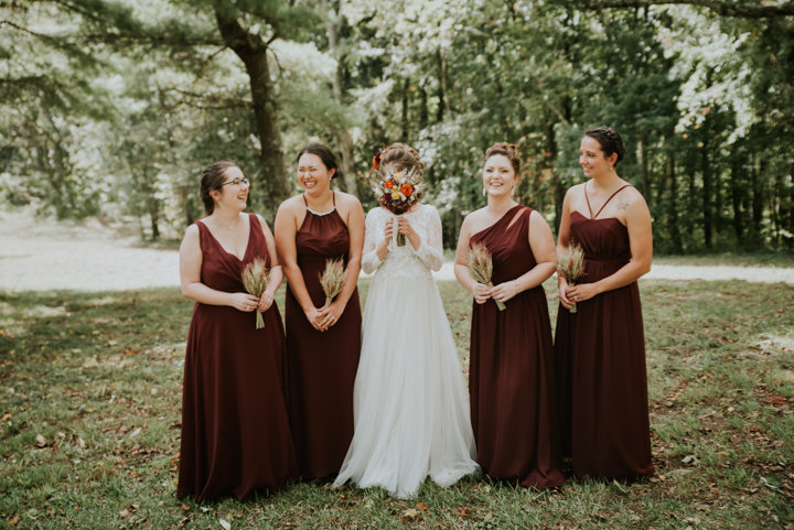 on the windfall north carolina wedding photographer, salty spruce studio, north carolina intimate wedding photographer, maroon floor length bridesmaids dresses, dried bouquets, on the windfall venue, on the windfall photographers, earthy wedding inspiration, earthy fall wedding, maroon bridesmaid dresses, north carolina elopement photographer