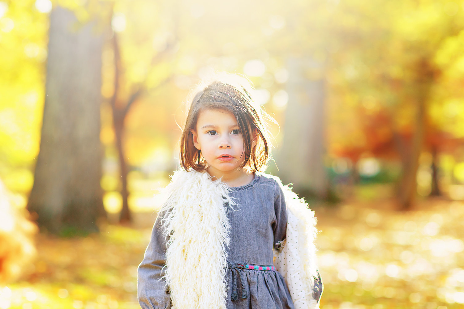 girl in autumn woodland