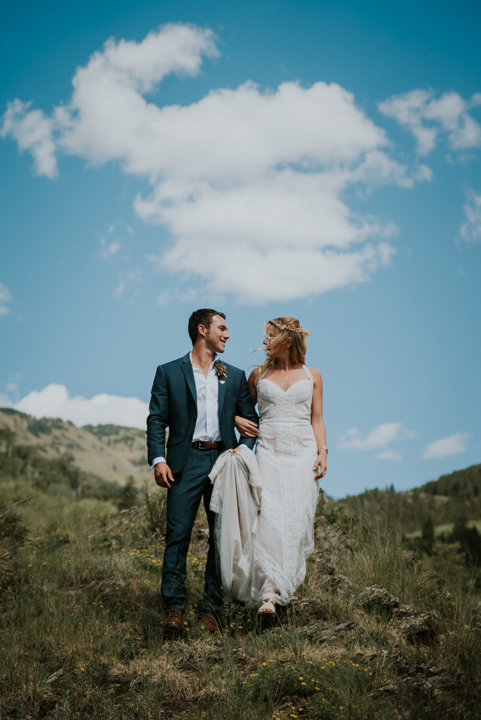 bride and groom marble colorado, Marble Lodge on Beaver Lake Retreat Campus, colorado elopement photography, boho wedding inspiration, lace boho wedding dress, salty spruce studio, couple looking at each other, mountain wedding photographers,