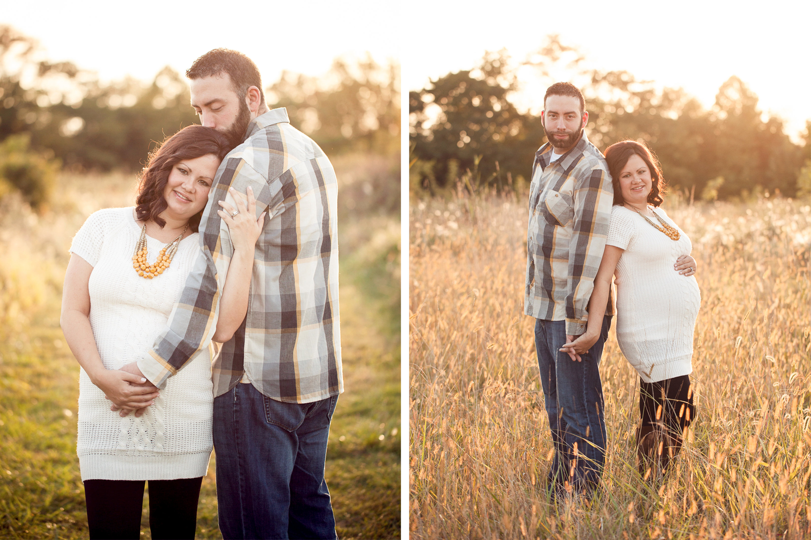 Lancaster couple pose in wheat field photo at sunset