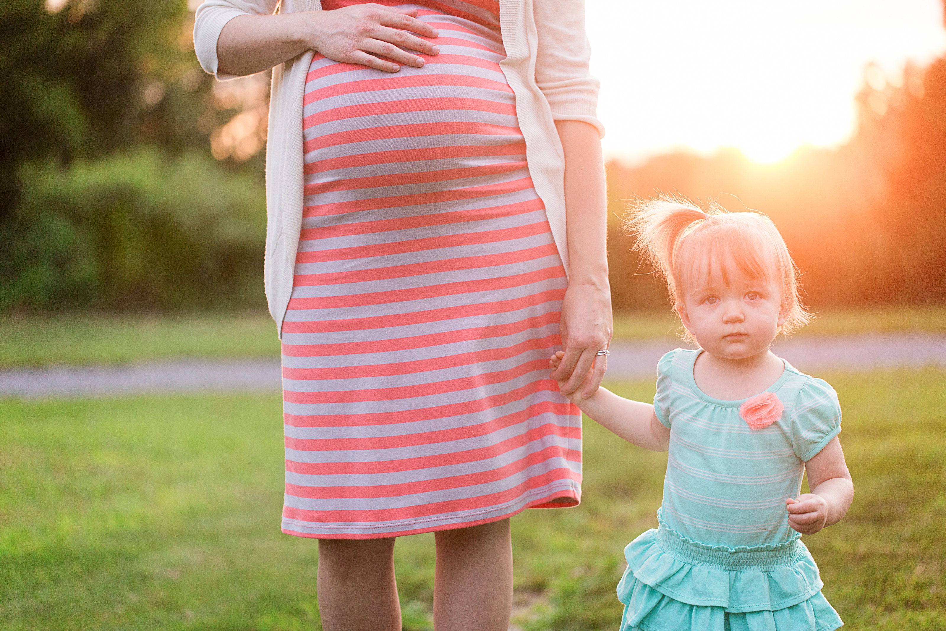 PA mother and daughter maternity photo bright colors