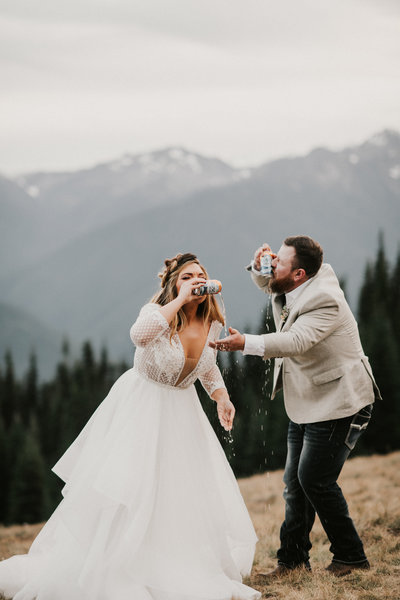 Hurricane Ridge PNW Intimate Wedding Elopement Planner Shotgun Beer Cheers