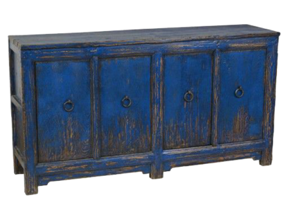 Blue painted console at Hockman Interiors with four wooden doors