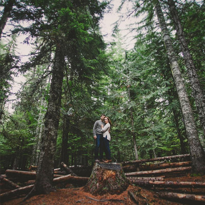 landscape photo of engagement photo in Oregon woods