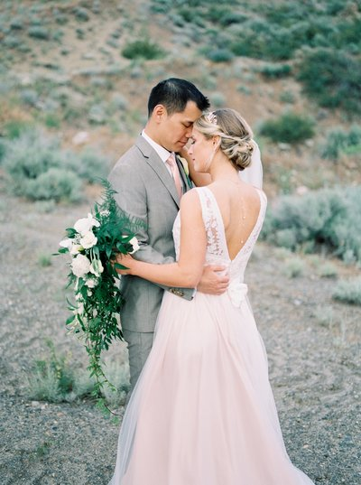 blush and grey wedding