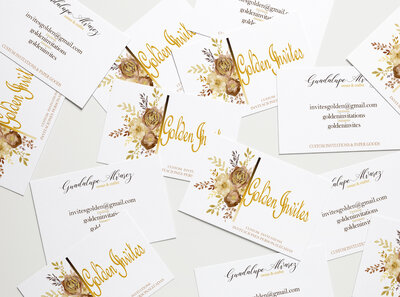 Golden Invites Business Cards MockUp