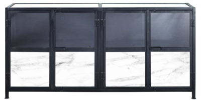 White marble console with black details and frosted glass at Hockman Interiors