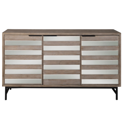 Three door console with rectangular pattern at Hockman Interiors