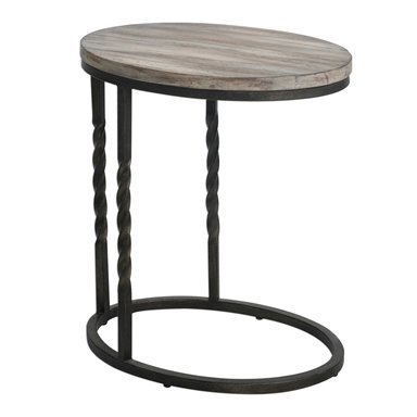 Grey and black oval end table with legs on one side at Hockman Interiors