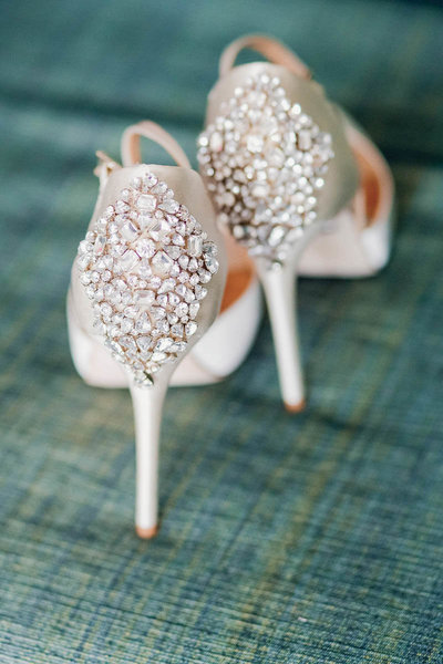 Bride's shoes have crystals in the back, Destination wedding, Hyatt Regency, Sarasota, Florida