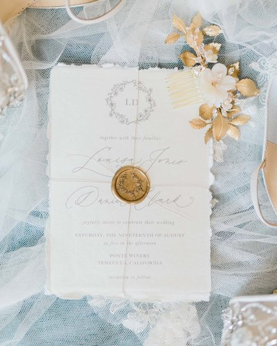 Plume & Fete elegant fine art custom invitate on handmade paper