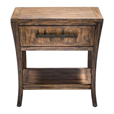 Antiqued wooden end table with drawer at Hockman Interiors