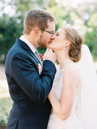 Bride and Groom captured on film right before they kiss. Romantic photo to the max
