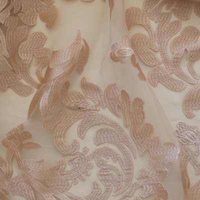 29 Champagne floral embroidered overlay