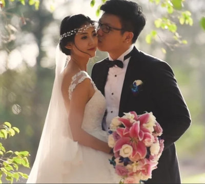 wedding couple at the Sanctuary Grove filmed by wedding videographer Alexei Malko