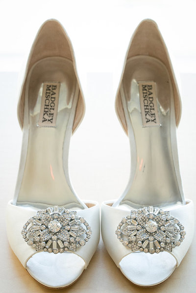 Los Angeles Wedding Photographer Bridal Shoes Badgley Mischka White