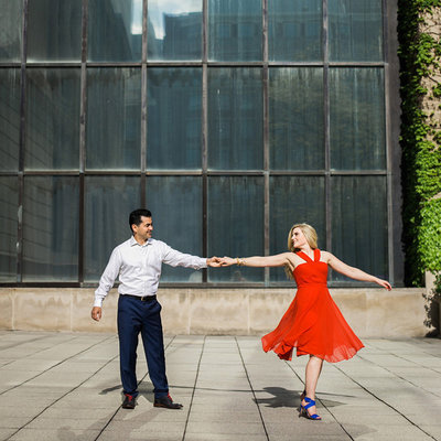 Fun city engagement photography