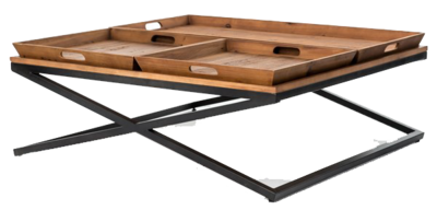 Compartmentalized coffee table at Hockman Interiors