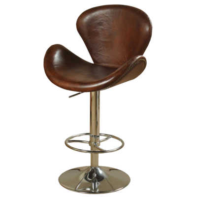 Swivel dining stool with tan leather seat and backrest from Hockman Interiors