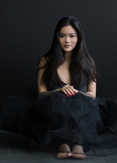CT Photo Studio portrait of young woman  in black tulle skirt by Karissa Van Tassel