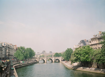 Bridge in Paris during a wedding
