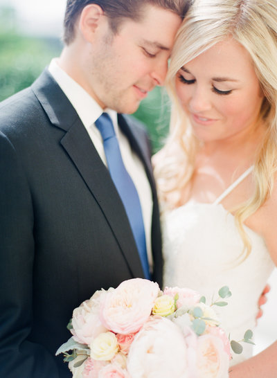 Closeup portrait of bride and groom