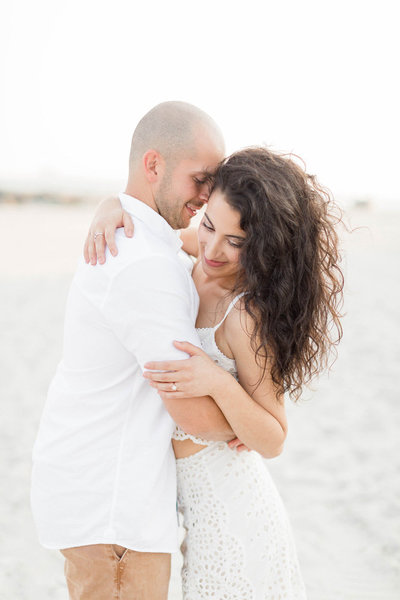 beach front engagement portrait