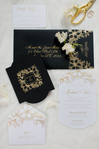 Classic and elegant black and gold calligraphy wedding invitations by Lewes Lettering Co