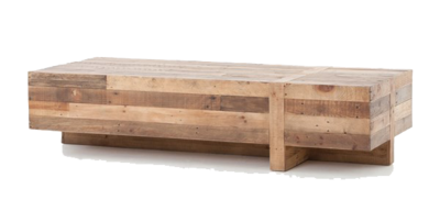 Geometric wooden coffee table with multi-tone wood and crossed base from Hockman Interiors