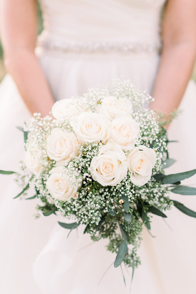 The Lodge at Ventana Canyon Wedding Photo of Bride and White Roses Bouquet by Tucson Wedding Photographer | West End Photography