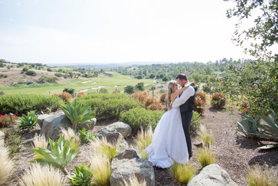 Bride and Groom overlooking Rancho Santa Fe at Santa Luz Club