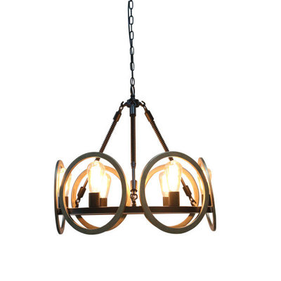 Six-light chandelier with brass circles from Hockman Interiors