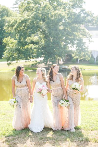 southern bridesmaids pink dresses