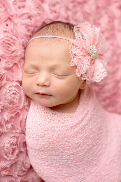 Newborn girl pink and cream