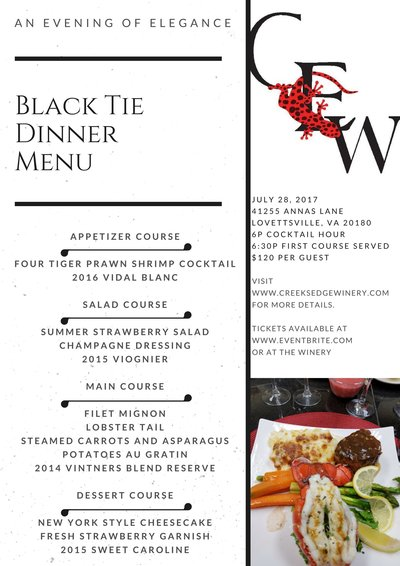 Black Tie Dinner Menu 2