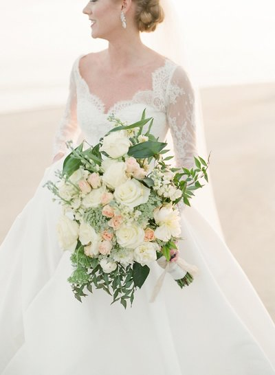 Bride with beautiful large bouquet