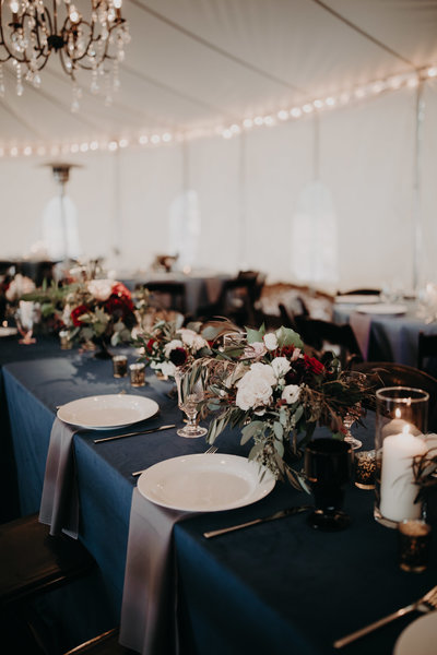 blue gray table wedding