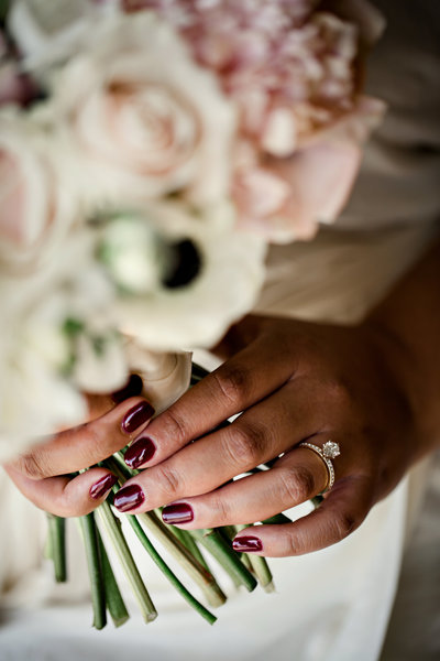 Closeup detail photo of bridal bouquet in Lodi California