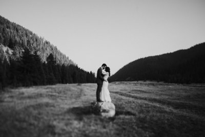 Couple Embracing at Big Sky MT Wedding