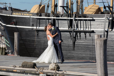 Wedding couple at Mystic Seaport
