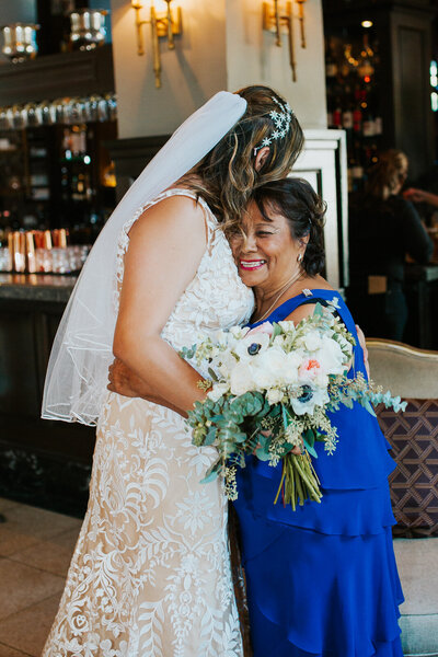 Beautiful moment between mother and bride.