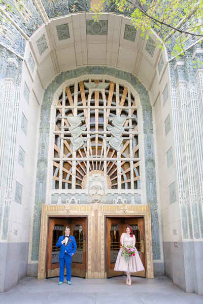 Marine Building on Burrard in downtown Vancouver, bride and groom.