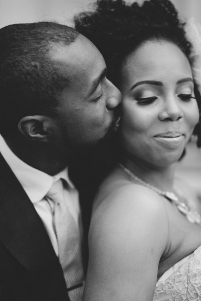 Intimate black and white wedding photo of bohemian couple in Seattle