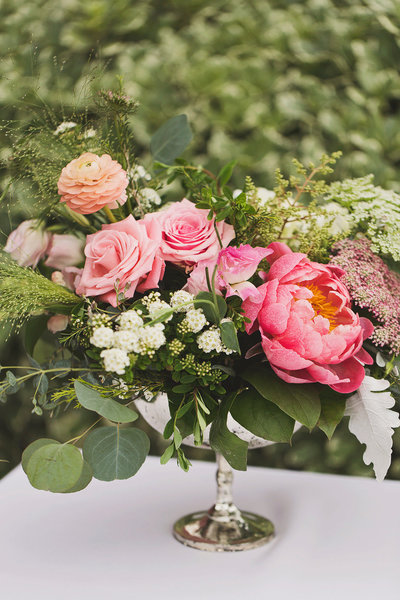 pink peony and roses wedding bouquets
