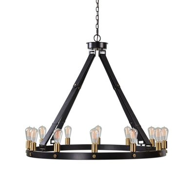 Black and gold chandelier with open triangular frame from Hockman Interiors