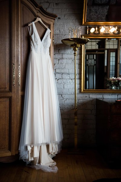 Wedding dress on hanger, Chicago, Salvage One.