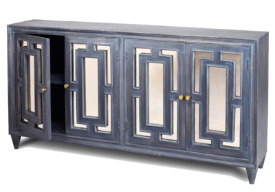 Blue mirrored living room console at Hockman Interiors