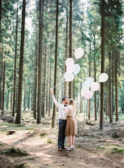 Engagement shoot forest in the Netherlands shot on film